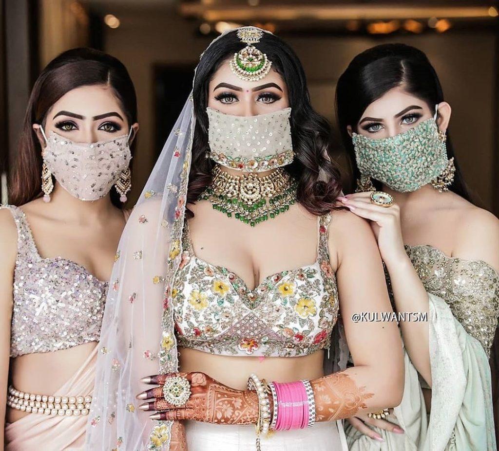 indian wedding , intimate weddings , bridal face mask , #masks #indianwedding #thefashionpost