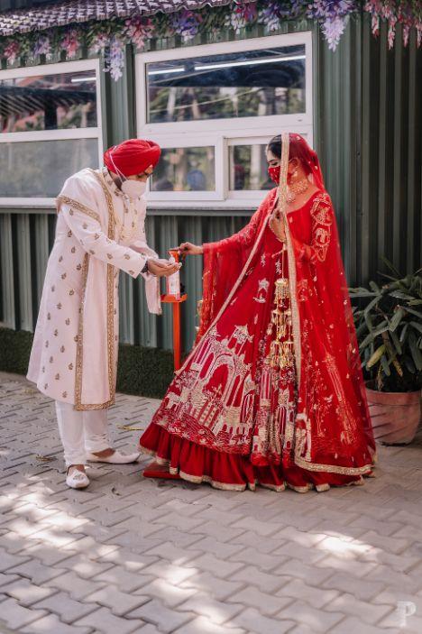 indina wedding , corona wedding , intimate indian wedding at home , sanitizer station ideas for weddings , customised sanitiser , indian weddings , indian bride , weddings , wedding blogs , the weddingpost , the weddin post