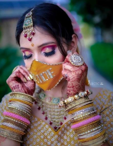 bride mask , customised mask for indian rbide , indian bridal face mask