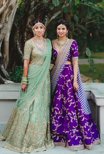 indian bridesmaid , sister of the bride , bridalwear , sabyasachi , purple sabyasachi lehenga , top indian desginers
