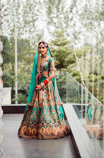indian wedding , sabyasachi lehenga , sabyasachi lehenga 2020 , latest bridal lehenga , green sabyasachi lehenga , indian wedding blog